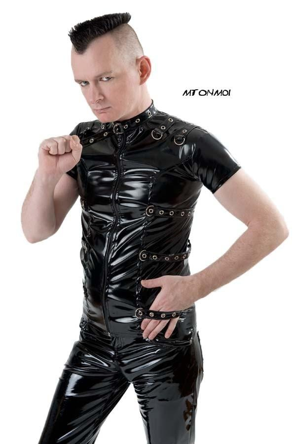 Mens Gloss PVC Nightmetal Top