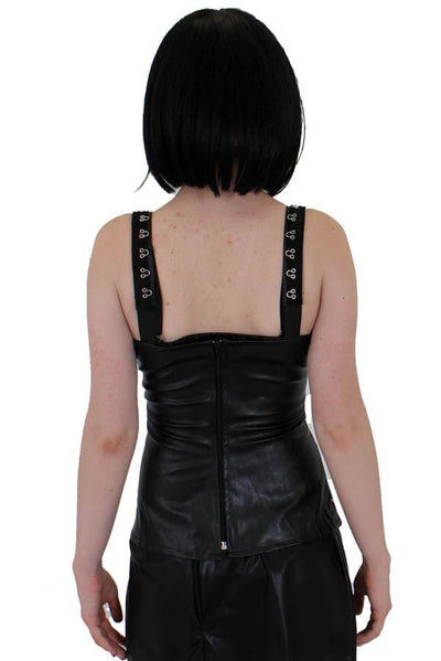 Sin Leather Look Hide Top with Ribbon Lace Up Front