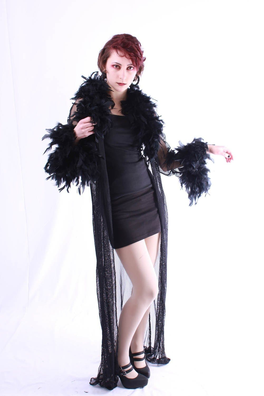 Boa Trimmed Stretch Net Coat