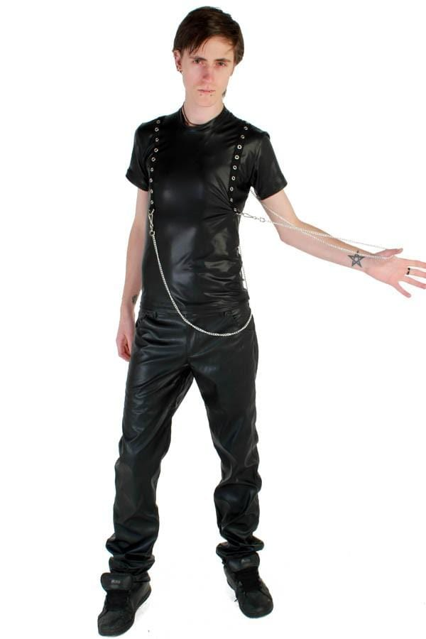 Mens Rubber Look Eyelet Top