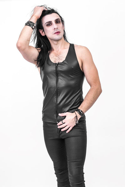 Tom Tight Fit Rubber Look Zip Vest