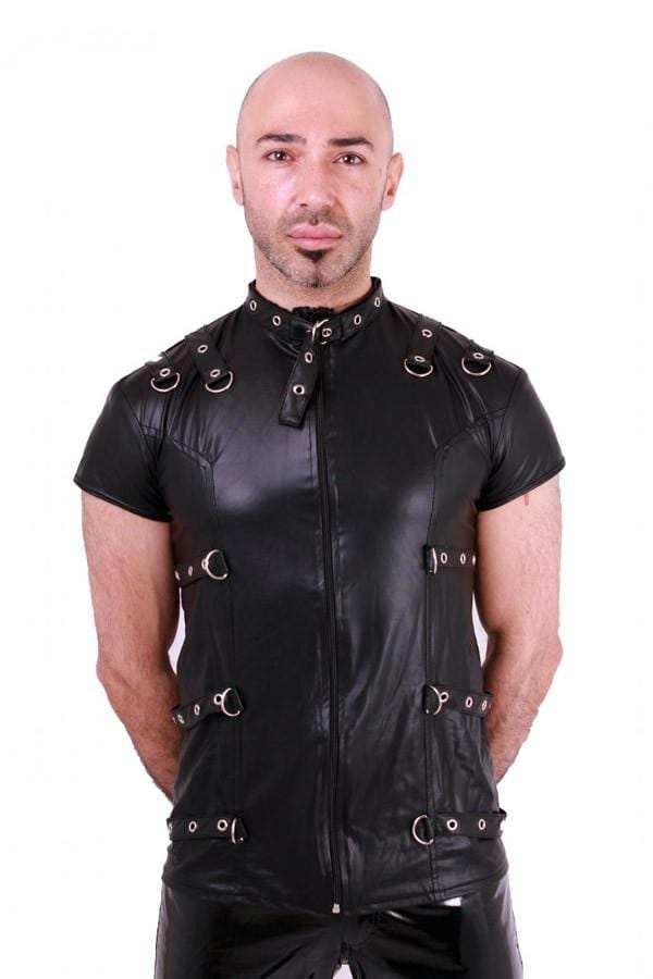 Mens Black Rubbery Night Metal Top