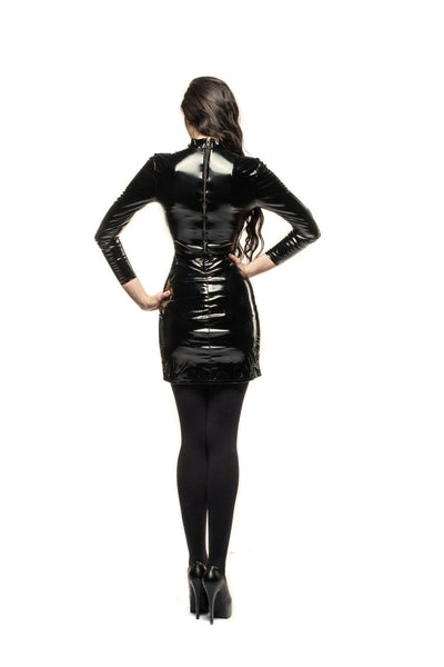 Long Sleeve Gloss PVC Mistress Style Fitted Dress