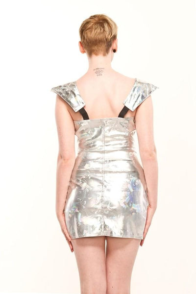 Silver Mini Slim Fitting Dress