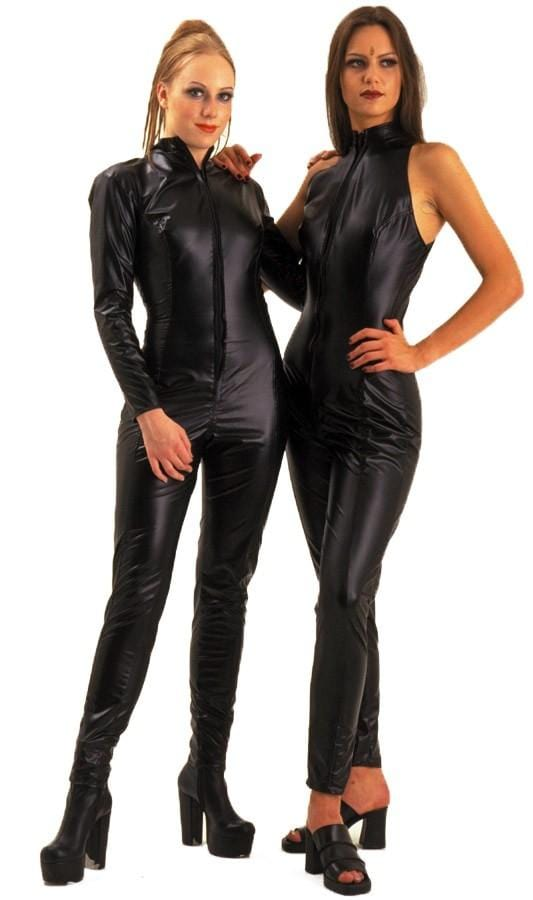 Leather Look Long Sleeve Catsuit (left)