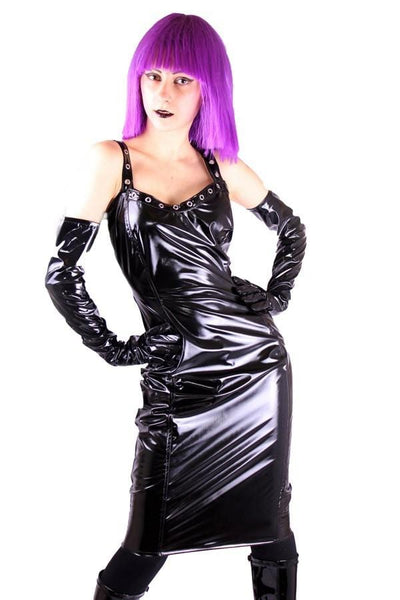 Black Gloss PVC Herta Pencil Dress