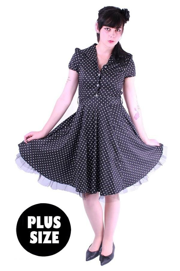 Button Front Polka Dot Flared 50s Dress