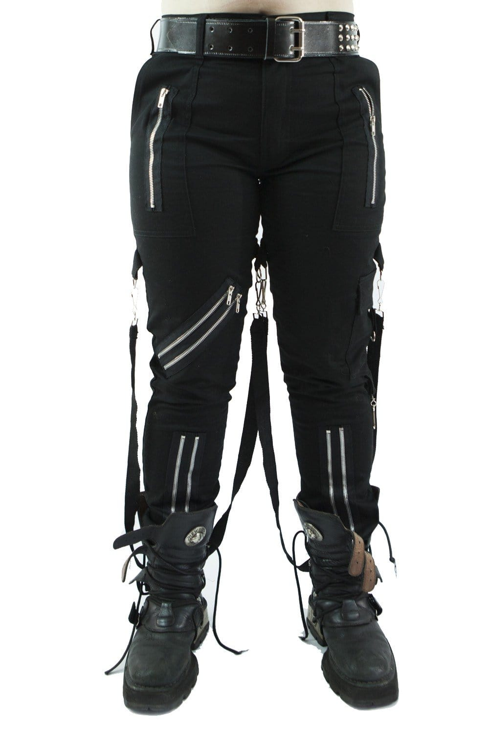 Black Canvas Punk Bondage Trousers