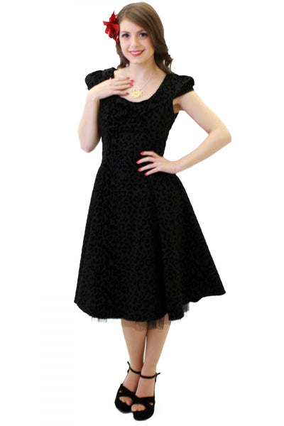 Flock Cap Sleeve Flared Dress