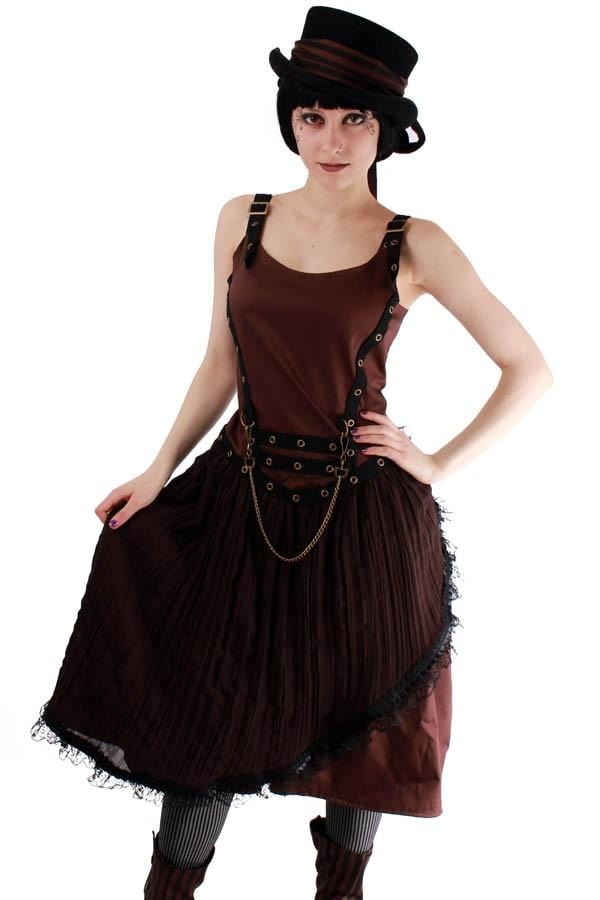 Compass Steampunk Pleated Dress