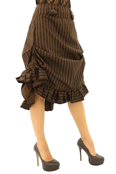 Compass Black & Brown Striped Tucked Skirt