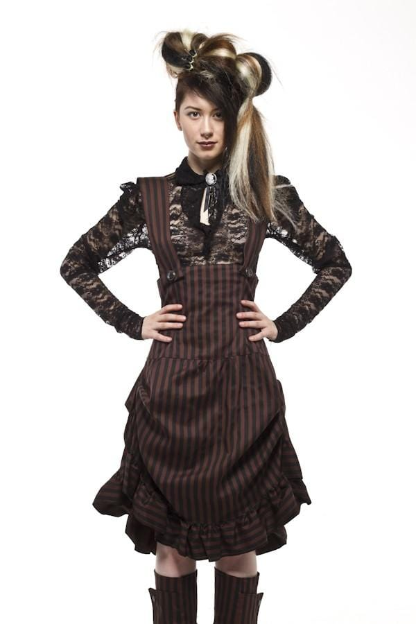 Compass Brown & Black Stripe Underbust Dress
