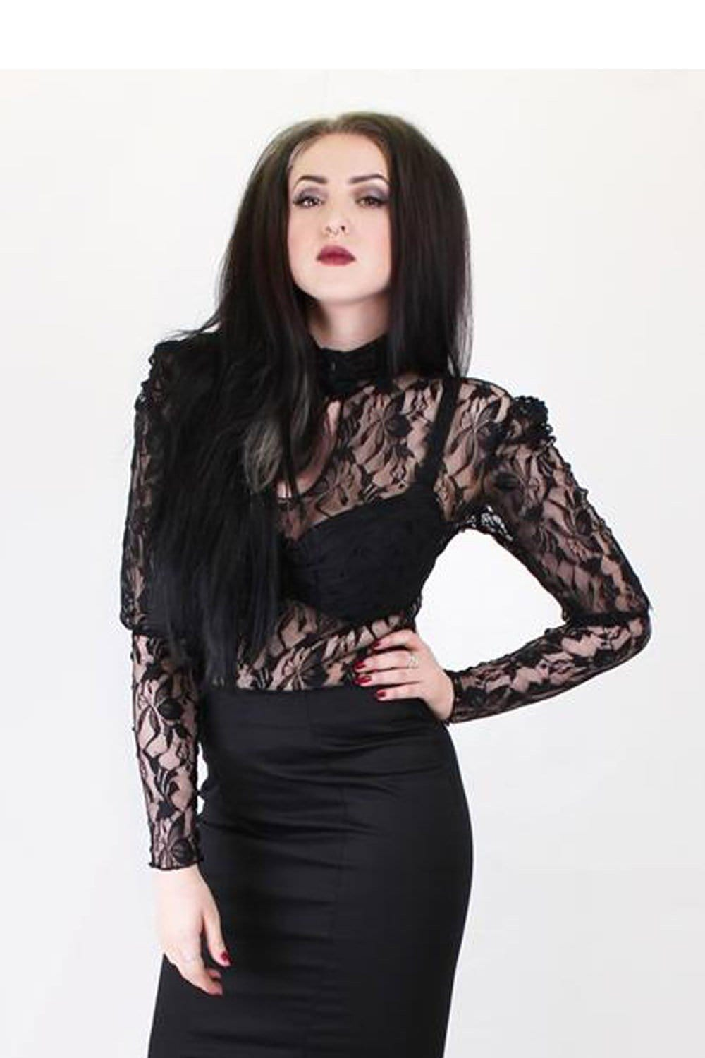 Elite Goth High Neck Lace Blouse
