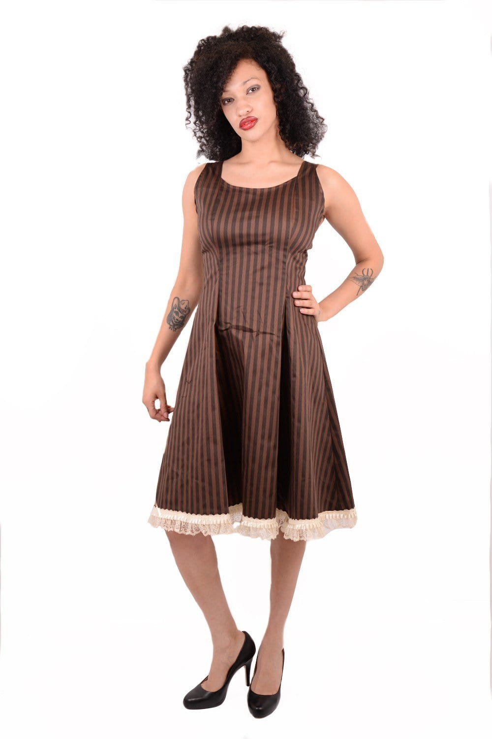 Compass Black & Brown Stripe Dress
