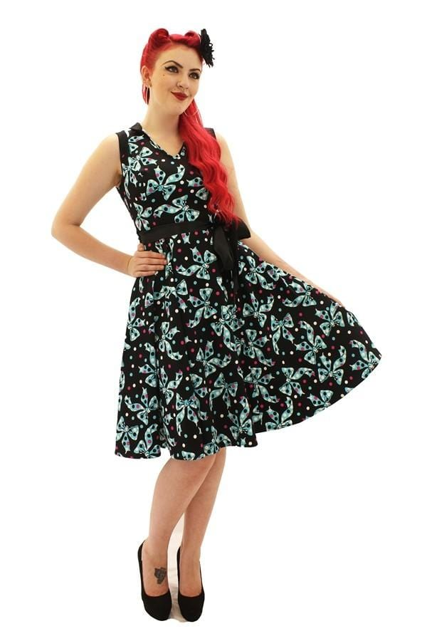 Spot and Bow Flared Dress