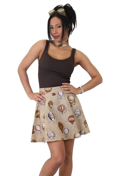 Balloon Print Flared Skirt
