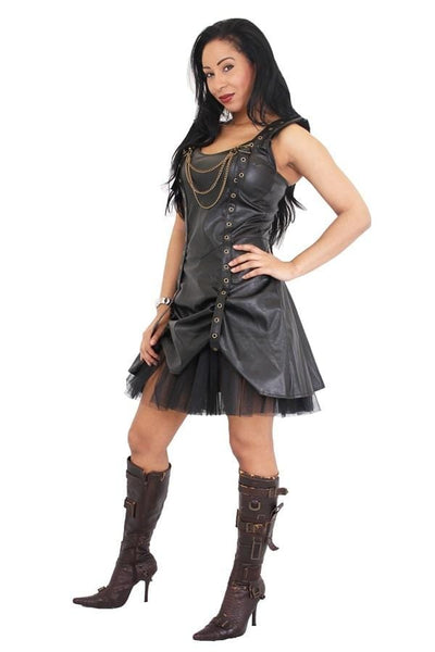 Black Leather Look Golden Steam Strap Rouch Dress