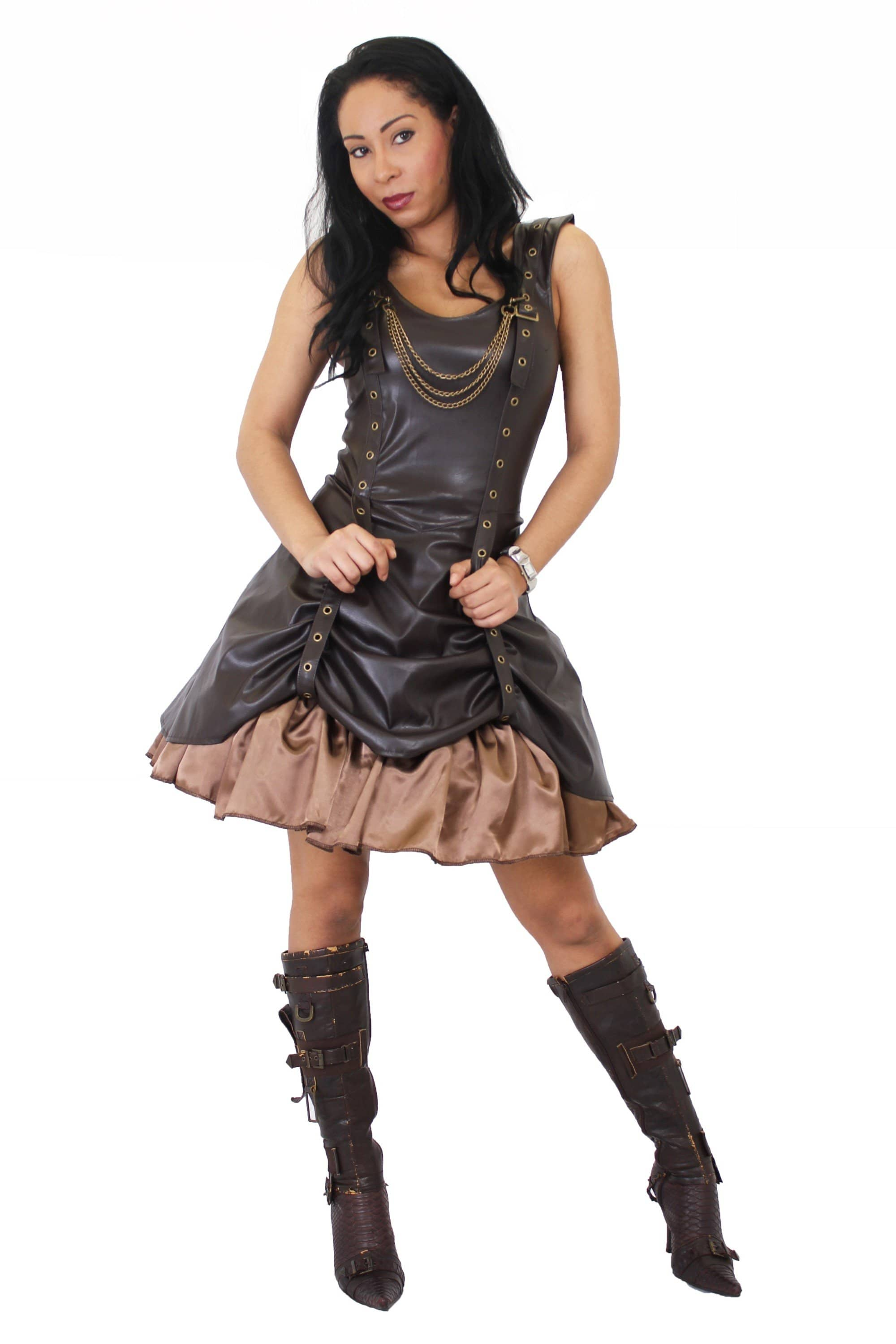 Leather Look Rouch Strap Dress