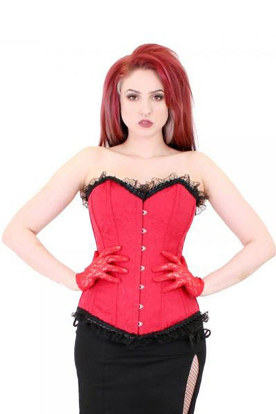 Red Overbust Victoria Corset with Black Trim