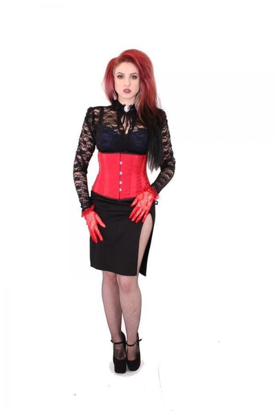 Red Victoria Satin Boned Waspie