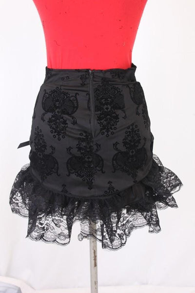 Kiara Gothic Flock Rouched Lace Skirt