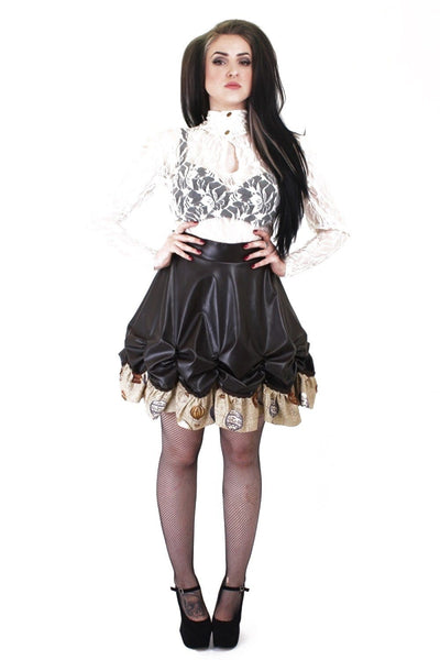 Leather Look Balloon Frill Rouched Skirt