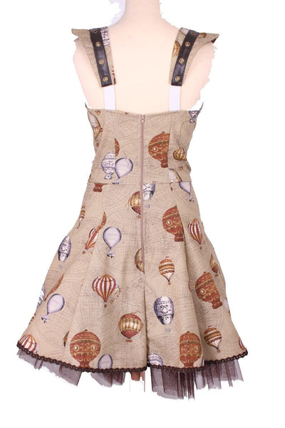 Balloon Print Rouched Eyelet Dress