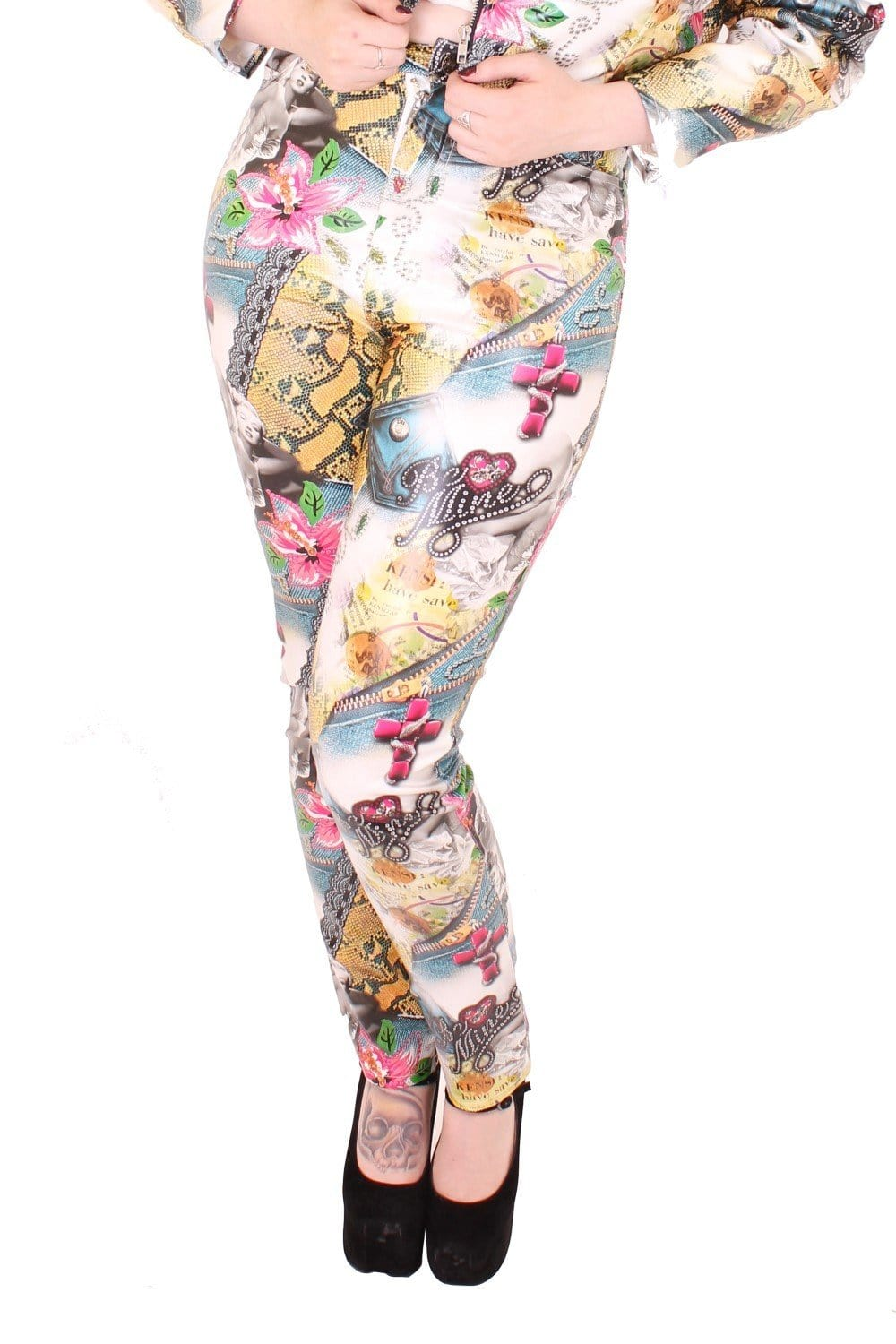Unisex Be Mine Retro Print Jeans
