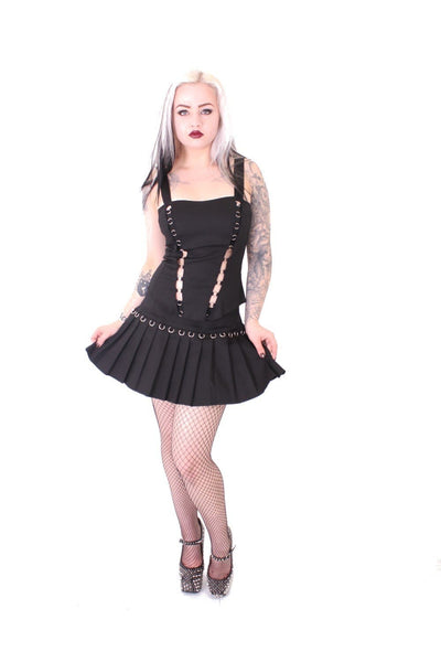 Black O Ring 2 Vent Mini Skirt