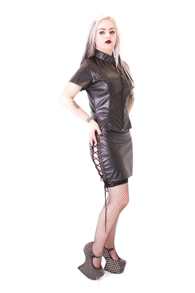 Matt PVC Side Lace Up Skirt