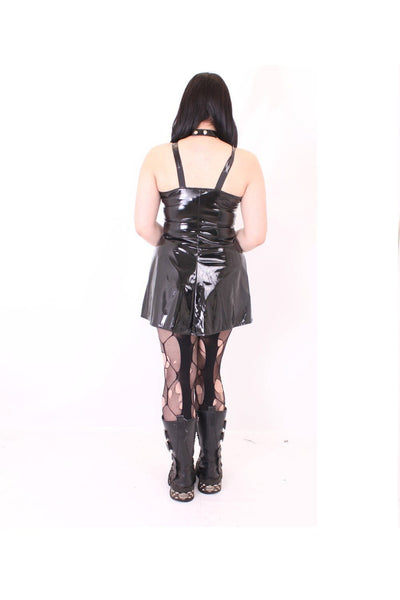 Sleeveless Gloss PVC Pentagram Dress