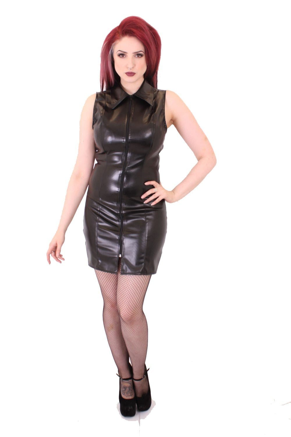 Short Laser Zip Front Dress