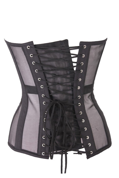 Stripe Mesh and Cotton Boned Corset