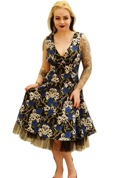 Large Skull Rose Circle Dress