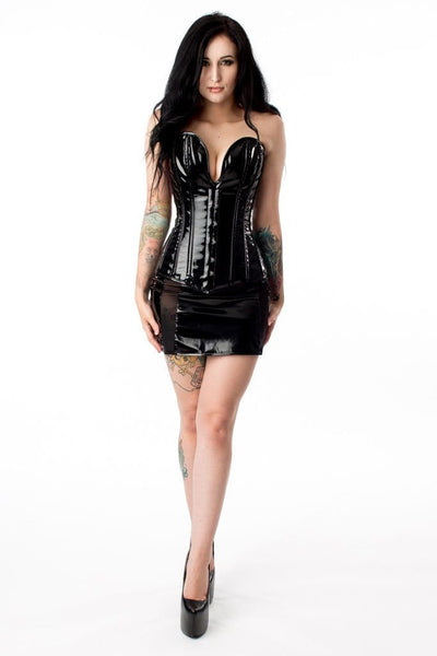Scooped Front Gloss Steel Boned Corset