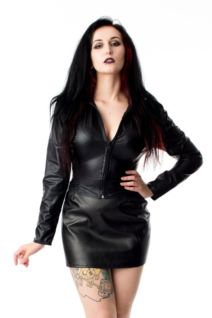 Long Sleeved Rubber Look Barbarella Top