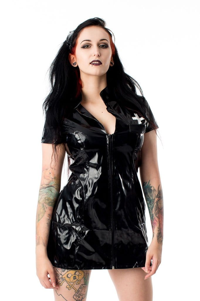 Black & White PVC Zip Front Nurse Dress with Hat