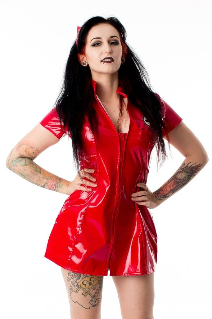 Red PVC Zip Front Nurse Dress with Hat (Circle Badge)