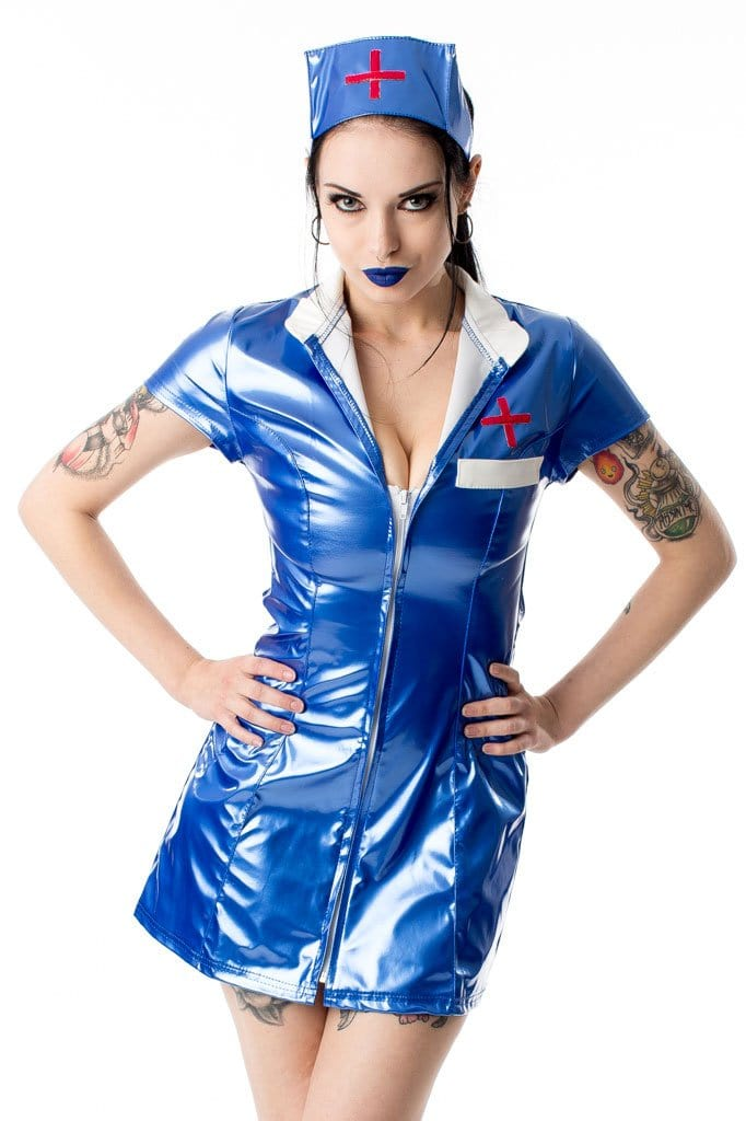 Blue PVC Zip Front Nurse Dress with Hat