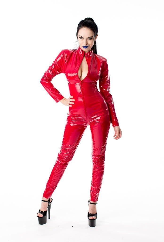 Gloss PVC Long Sleeve Barbarella Red Catsuit