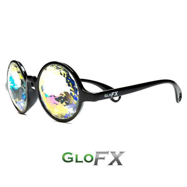 Circle Frame Kaleidoscope Glasses - Black