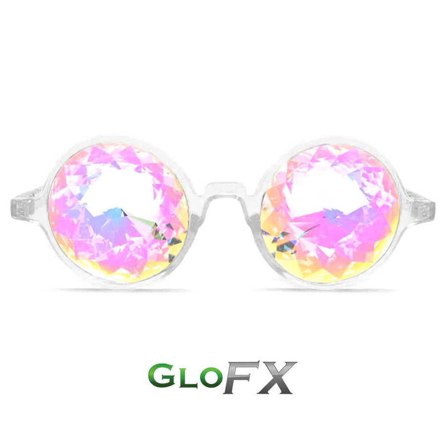 Circle Frame Kaleidoscope Glasses - White