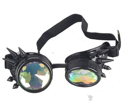 Black Spiked Kalaidescope Goggles