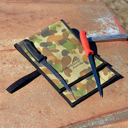 camo canvas knife roll for fishing hunting