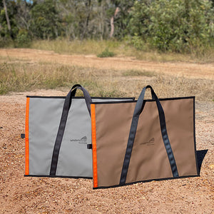 heavy duty canvas camping bag australian made grey chocolate