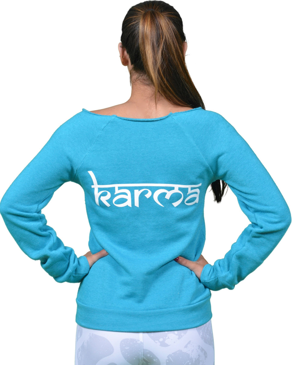 Karma Off The Shoulder Sweatshirt in Deep Turquoise - Final Sale!