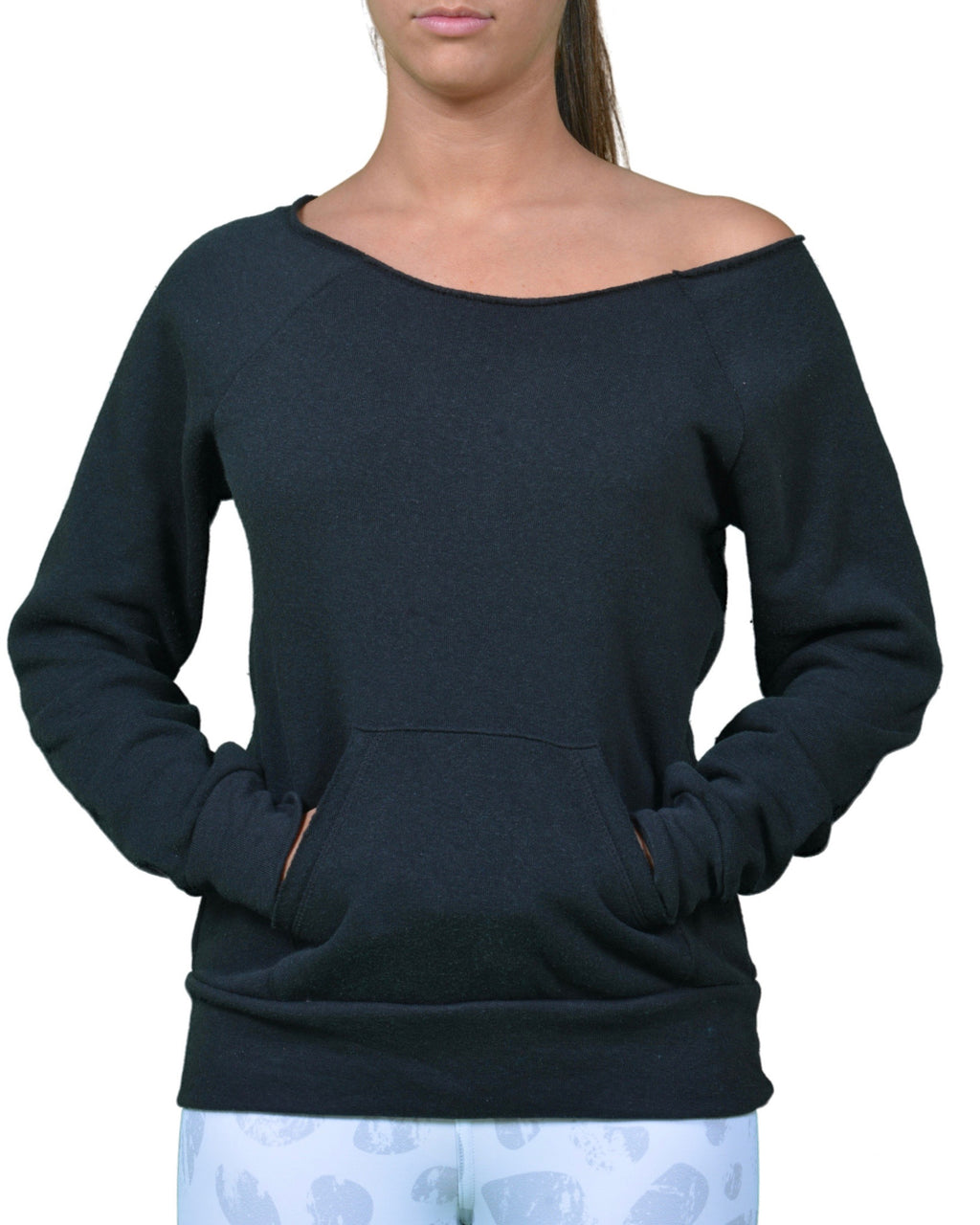 Karma Off The Shoulder Sweatshirt in Black - Final Sale!