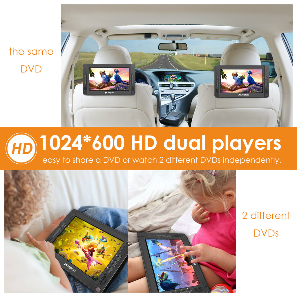 "10.1"" Portable DVD Players for Car, Dual Screen DVD Player with 5-Hour Rechargeable Battery, Region free, Support USB/SD/MMC, Play a Same or Different Movies"