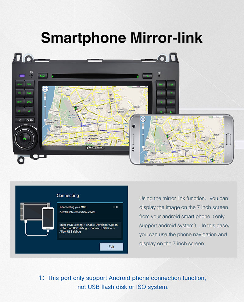 Mercedes-Benz Vito stereo with phone mirror link