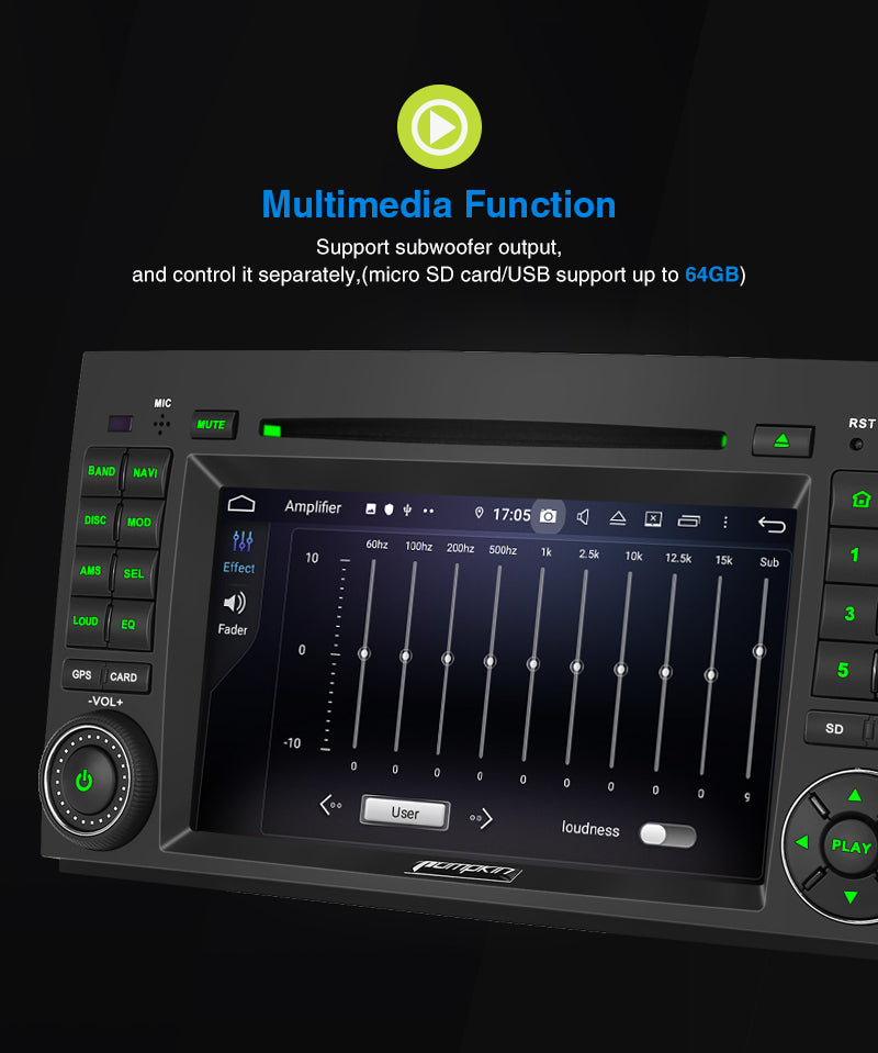 "Pumpkin 7"" Touchscreen Octa-Core Android 9.0 Car Stereo for Benz A B class/Vito/Viano/W906/W639 with RAM:4GB/ROM:32GB"